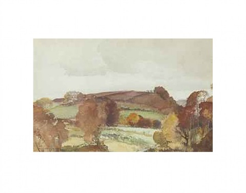 wet ploughed uplands, great englebourne, s. devon by william russell flint