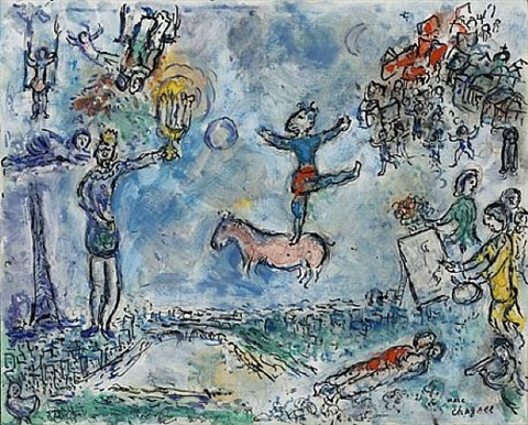 paysage de paris by marc chagall