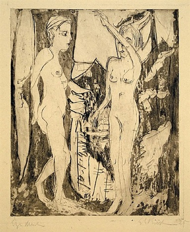 two standing nude women, before a fir tree, mountainside (zwei stehende nackte madchen vor tanne am bergabhang) by ernst ludwig kirchner