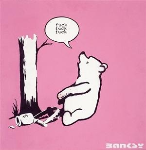 winnie the pooh (pink) by banksy