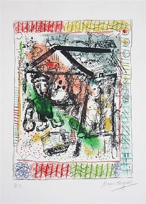 le peintre devant le village ii by marc chagall
