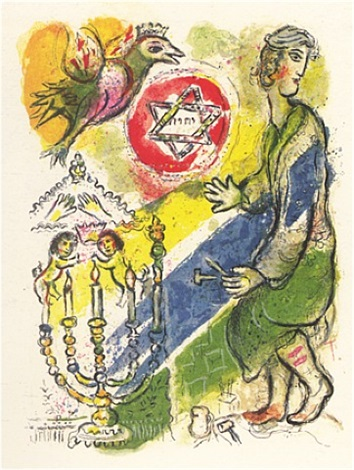 exodus - bezaleel made two cherubs of gold... by marc chagall