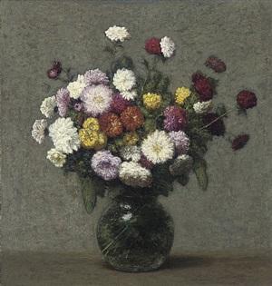 bouquet de zinnias dans un vase boule by victoria dubourg fantin-latour