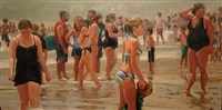 seashore crowd, hot day by roxann poppe leibenhaut