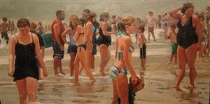 seashore crowd, hot day by roxann poppe leibenhaut