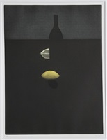 bottle with lemon in the darkenss by yozo hamaguchi