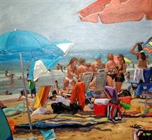 summer beach crowd (sold) by roxann poppe leibenhaut