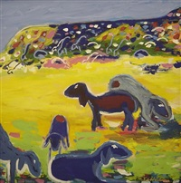 sheep landscape by menashe kadishman