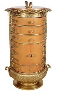 circular vanity with hinged mirror top by armand-albert rateau