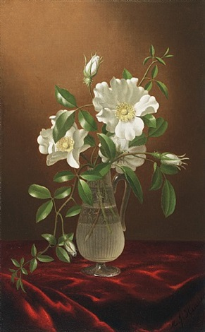 cherokee roses in a glass vase by martin johnson heade