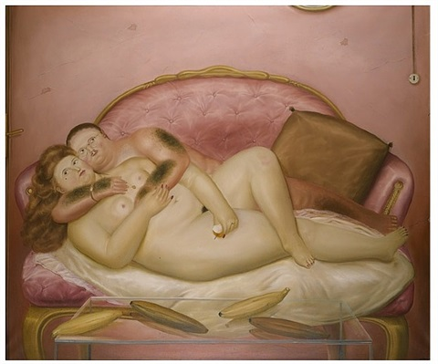 lovers on a french sofa by fernando botero