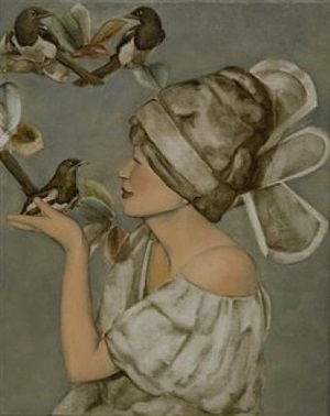 lady with bird by gwen ramsay