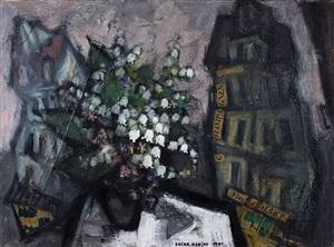 bouquet de fleurs dans un paysage urbain by oskar rabin
