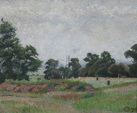 the golf links, acton (a june morning) by lucien pissarro