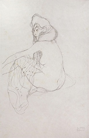 <u>seated woman, half length</u> from fünfundzwanzig handzeichnungen by gustav klimt
