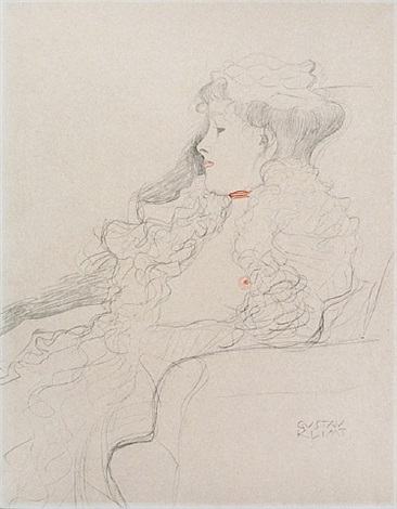 <u>seated girl facing left</u> from fünfundzwanzig handzeichnungen by gustav klimt