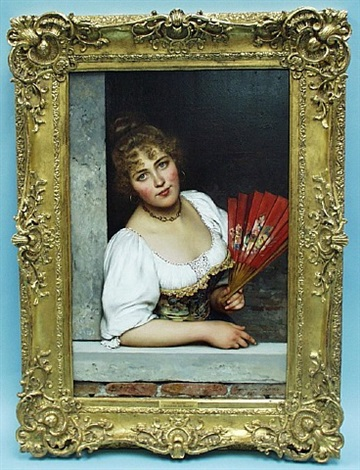 the red fan by eugen von blaas