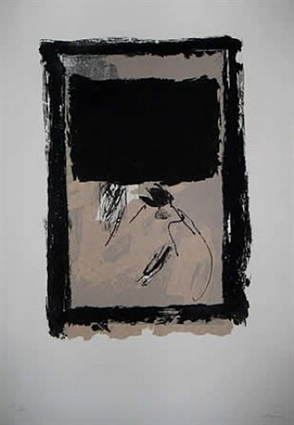 rectangle noir et collage by antoni tàpies