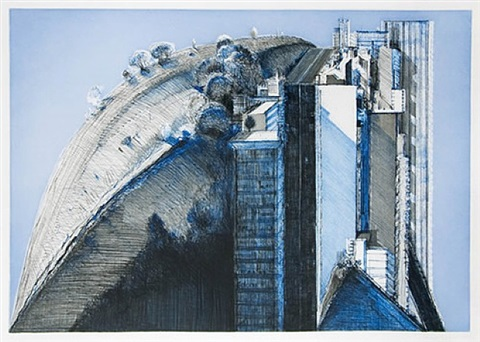 dark country city by wayne thiebaud