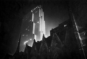 rockefeller center at night by paul j. woolf