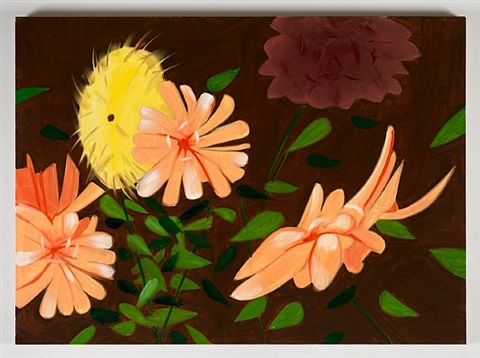 late summer flowers on brown by alex katz