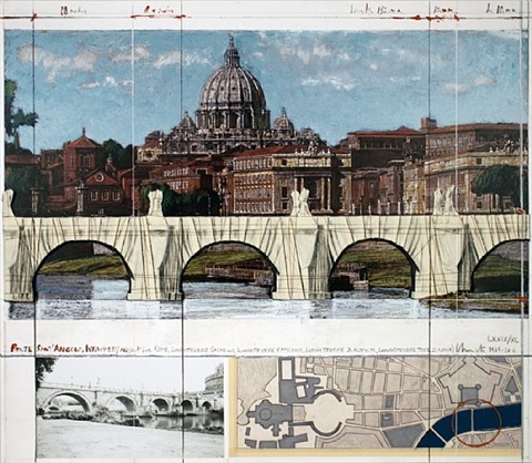 ponte sant angelo, wrapped project for rome-signed by christo and jeanne-claude