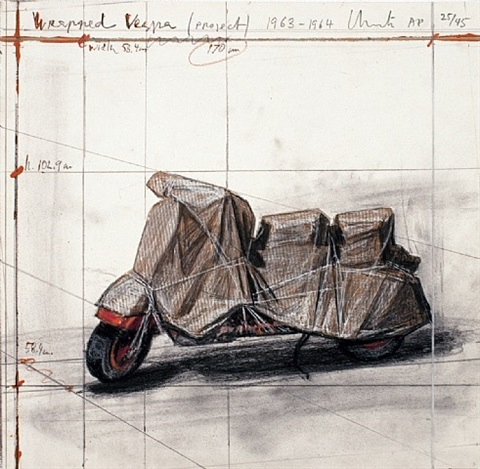 wrapped vespa-signed by christo and jeanne-claude