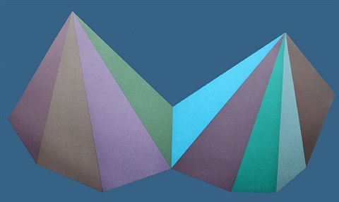 two asymmetrical pyramids (blue)-signed by sol lewitt