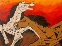 two horses by maqbool fida husain