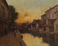 evening glow, granville by eugène galien-laloue