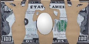 untitled (dollar bill mirror) by william nelson copley