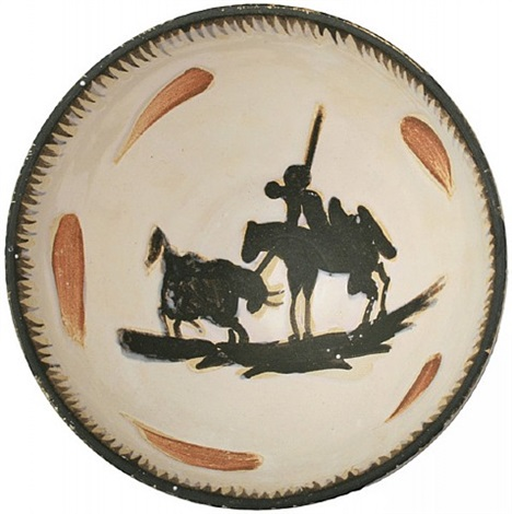 "hand painted fine ceramic bowl ""picador"" by pablo picasso"