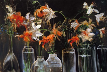 floral (orange and white lilies in clear glass vases) by clarice smith