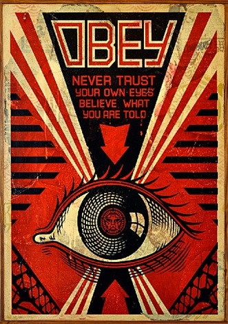 obey eye (hpm on wood), 2009 by shepard fairey
