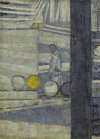 barrels in a yard by prunella clough
