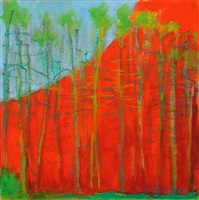 small red painting by wolf kahn