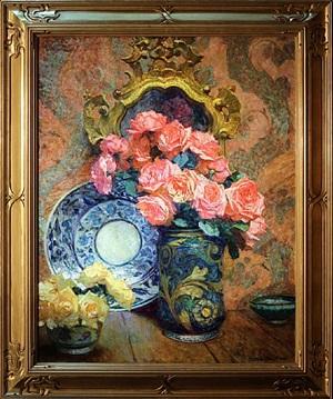 bouquets de roses avec porcelaine chinoise by octave denis victor guillonnet