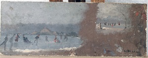the beach at trouville (painting study) by conrad wise chapman
