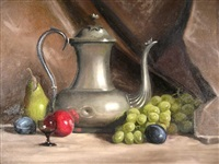 still life with teapot and fruit by herbert e. abrams