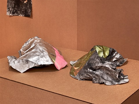 """the pink crumpled one and the charcoal silver form - green"" by jim hodges"