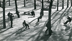 after school in the tuileries, paris by andré kertész