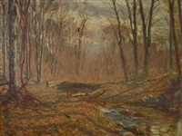 fall landscape with trees and stream by hal robinson