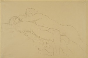two reclining female nudes by gustav klimt