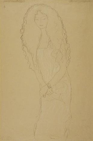 woman with long wavy hair by gustav klimt