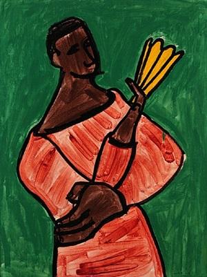 mujer con abanico by cundo bermúdez