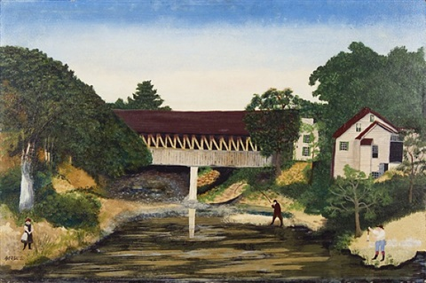old covered bridge, woodstock © grandma moses properties co., new york by grandma moses