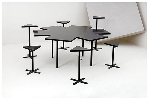"""tavolo a stella"" dining table & chairs (plinths) by michelangelo pistoletto"