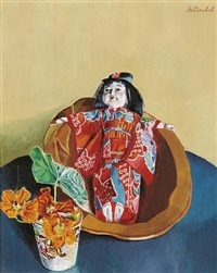 still life with japanese doll by albert paris von gütersloh