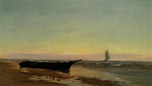 sunset shoreline by warren w. sheppard