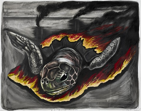 bp burns turtles by sue coe